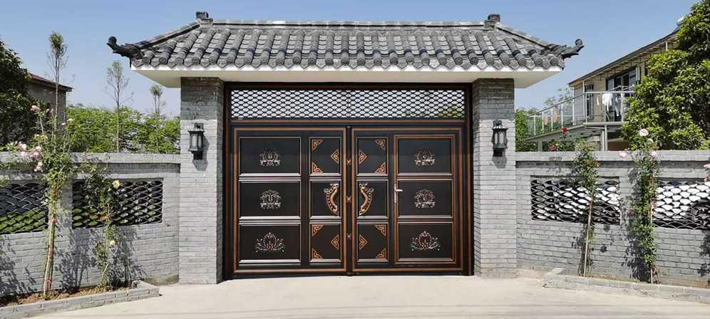别墅大门厂家安装中式仿古别墅围墙大门历程